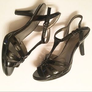 Bandolino Slingback Strappy Black Patent Heels